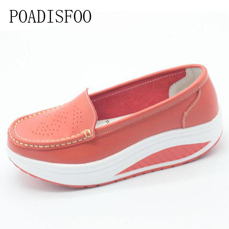 Genuine Leather Real Photo Women's Fashion Wedges Shoes Casual Slippers Platform Shoes Women Flower Print Plus Size .SPP-8102