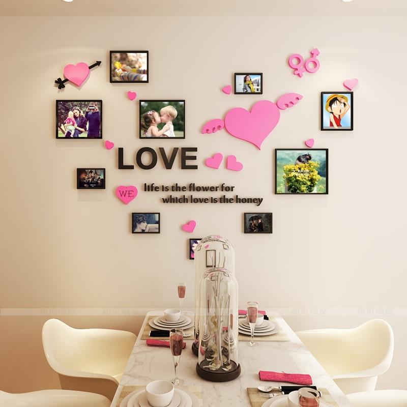 Warm Photo Frame Acrylic 3D Wall Sticker Wedding Room Romantic LOVE DIY Art Wall Decor Living Room Bedroom Wall Decoration(China)
