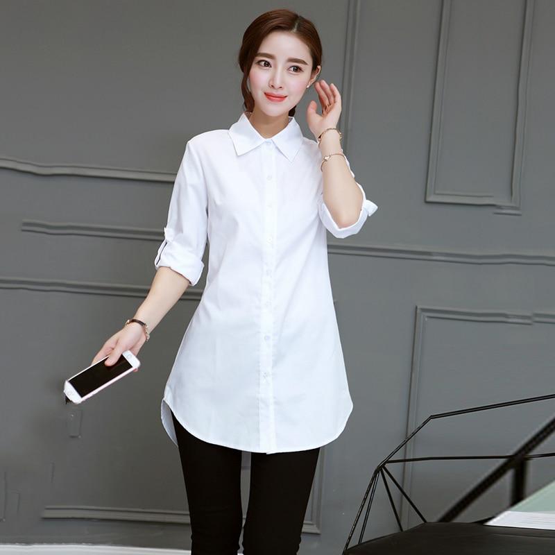 Casual Long White Women Shirts 2018 Spring Summer Collar Work Office Blouse Plus Size 5XL Fashion Long Sleeve Loose Shirt Tops