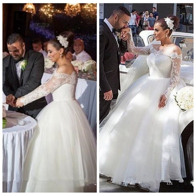 Lace Top Long Sleeves Ball Gown Wedding Dresses Tulle Skirt Dubai ...