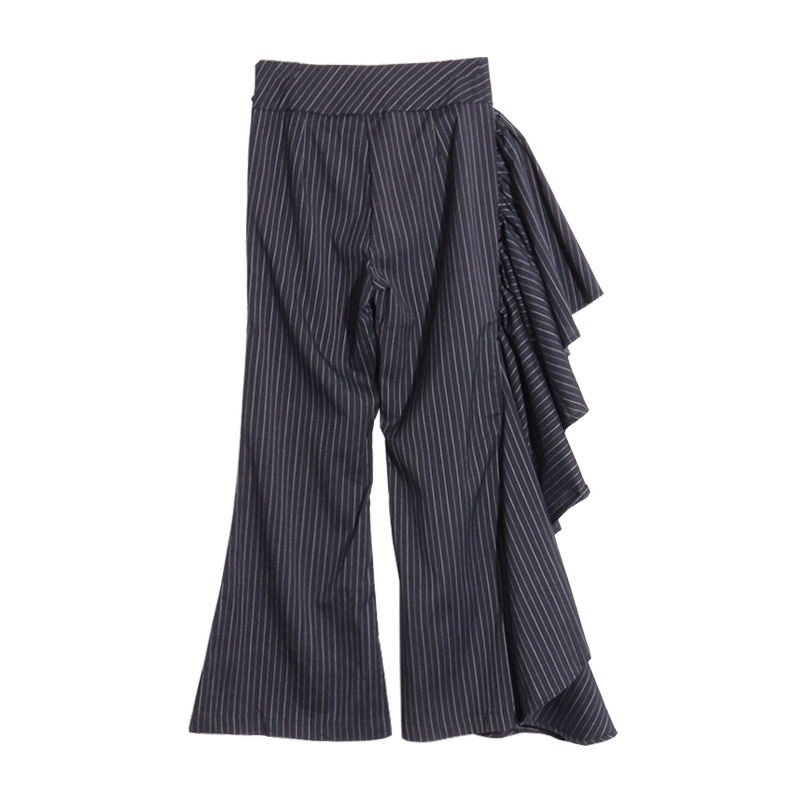 Ropa Largos Mujer Campana Oficina Rayas Volantes Trabajo Dark De Asimetría 2017 Bue Mujeres Pantalones Costura Elegante qAACgF