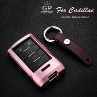 Aluminium Auto Remote Control Car Smart Key Cover Case Holder Bag Keychain Fit For Cadillac B