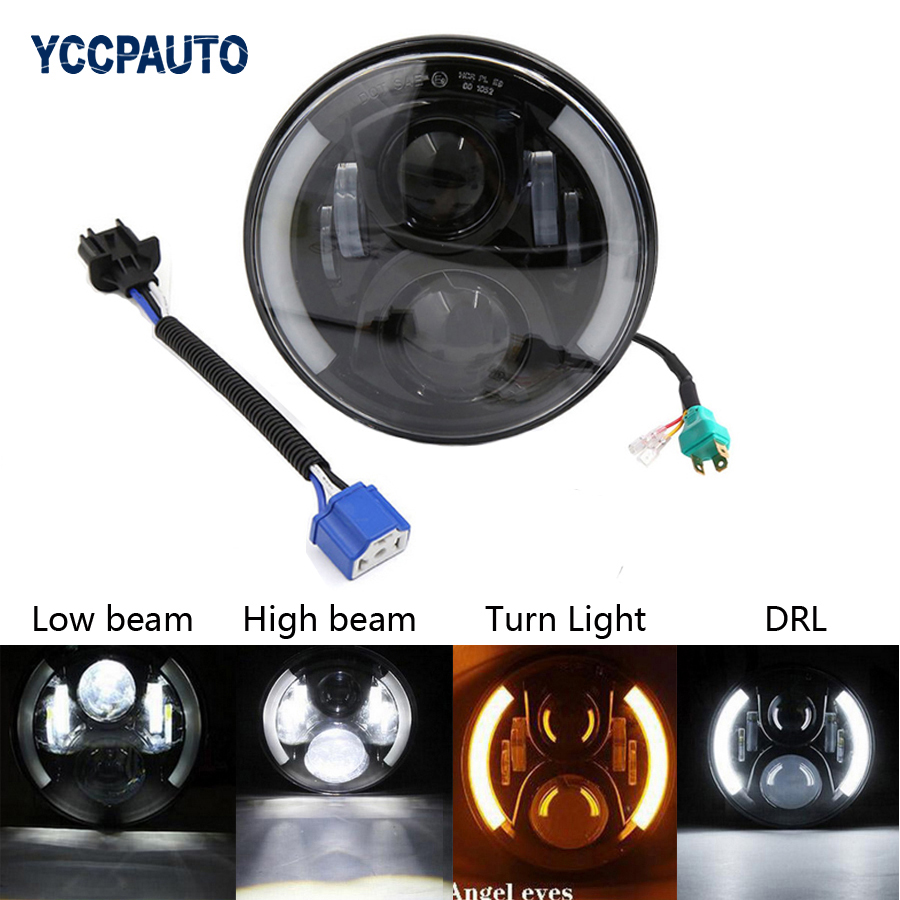 7 H4 H13 Motorcycle LED Head Light with Angel Eye DRL Turn signal Light Projector Daymaker High/Low Beam for Harley Davidson 1x 75w 7 headlight motorcycle black high low beam 7inch round daymaker led head light head lamp drl for harley davidson jeep jk