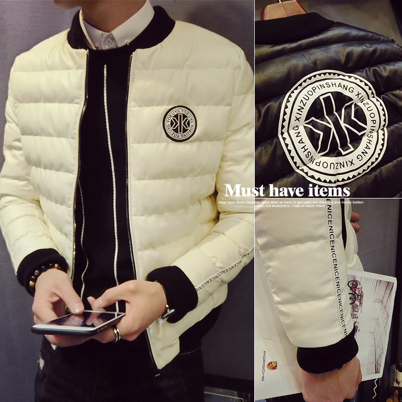 Autumn and winter 2016 new men's fine feather cotton padded coat washed leather slim young Korean cotton