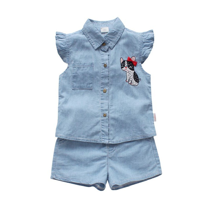 2018 Kids Set Baby Girls Summer Clothes Cat Denim Vest Top+pants Suit Children Clothing Toddler Vetement Enfant Fille Costume