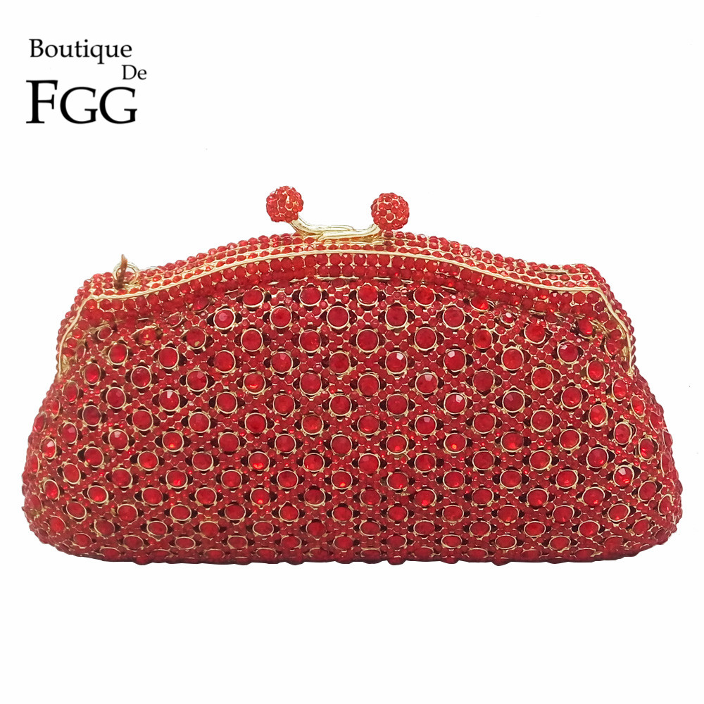 ФОТО Red Ruby Crystal Minaudiere Box Clutch Handbag Women Evening Bags Ladies Metal Hardcase Wedding Party Bag Diamond Clutches Purse