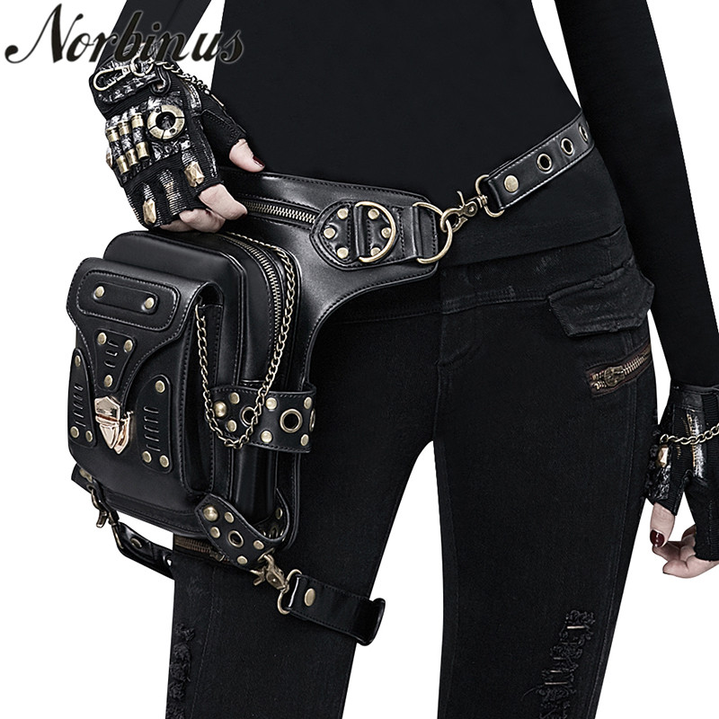 Norbinus Steampunk Gothic Women Waist Bag Female Rivet Shoulder Crossbody Bags Black Leather Motorcycle Leg Bag