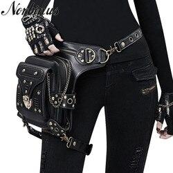 Norbinus стимпанк Готическая Женская поясная сумка с заклепками через плечо черная кожаная мотоциклетная сумка панк Байкерская сумка