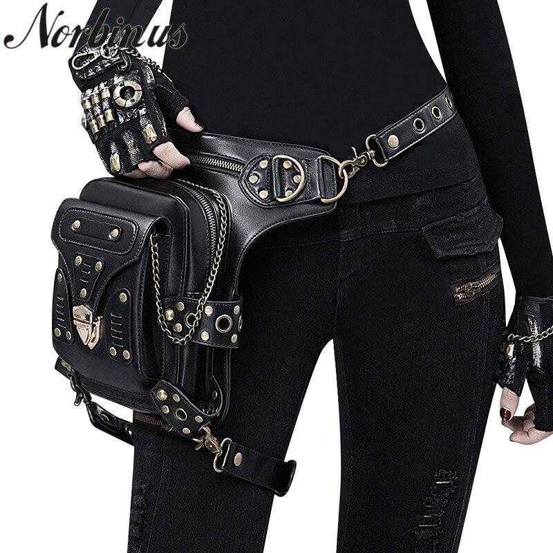 Norbinus Steampunk Gothic Women Waist Bag Female Rivet Shoulder Crossbody Bags Black Leather Motorcycle Leg Bag Punk Biker Packs