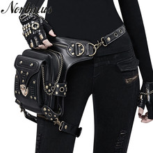 где купить Norbinus Steampunk Gothic Women Waist Bag Female Rivet Shoulder Crossbody Bags Black Leather Motorcycle Leg Bag Punk Biker Packs по лучшей цене