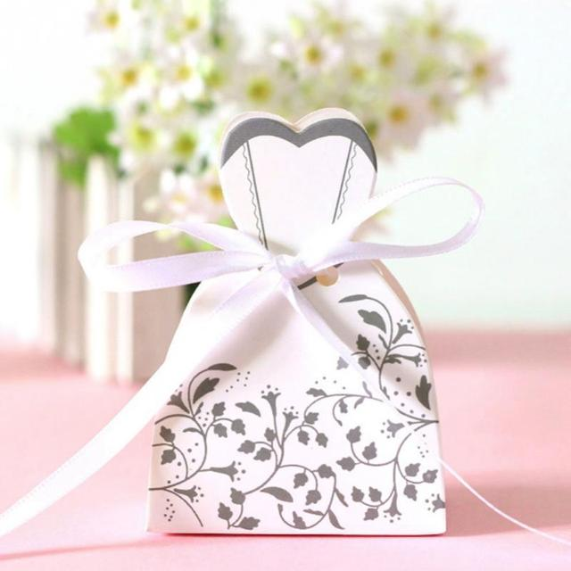 50pcs Candy Box Bride Dress Candy Bag Wedding Favors Boxes With ...