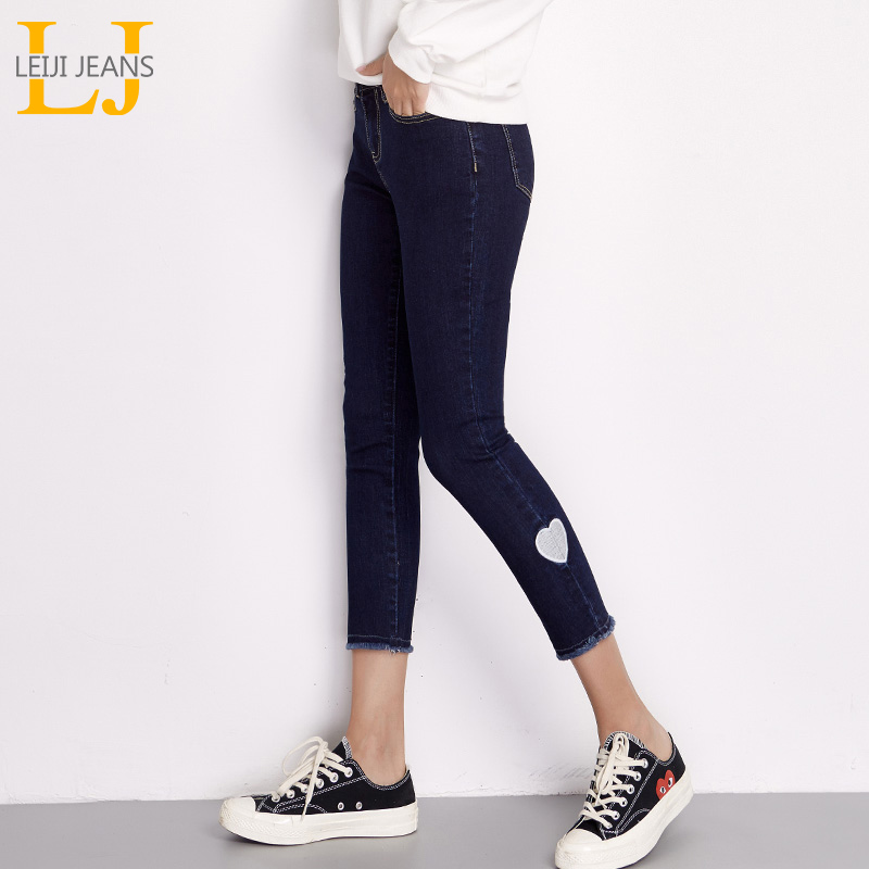 LEIJIJEANS New Arrival Spring Plus Size Heart Embroidery Mid Waist Ankle Length Casual Skinny Pencil Women Stretch   Jeans