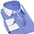Caiziyijia 2017 mens camisa de vestir de manga larga libre de arrugas de contraste de cuello blanco y el brazalete slim-fit 100% algodón camisa de rayas azules
