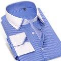 Caiziyijia 2017 mens enrugamento-livre vestido de camisa de manga longa branca contraste gola e punho slim-fit 100% algodão camisa de listras azuis