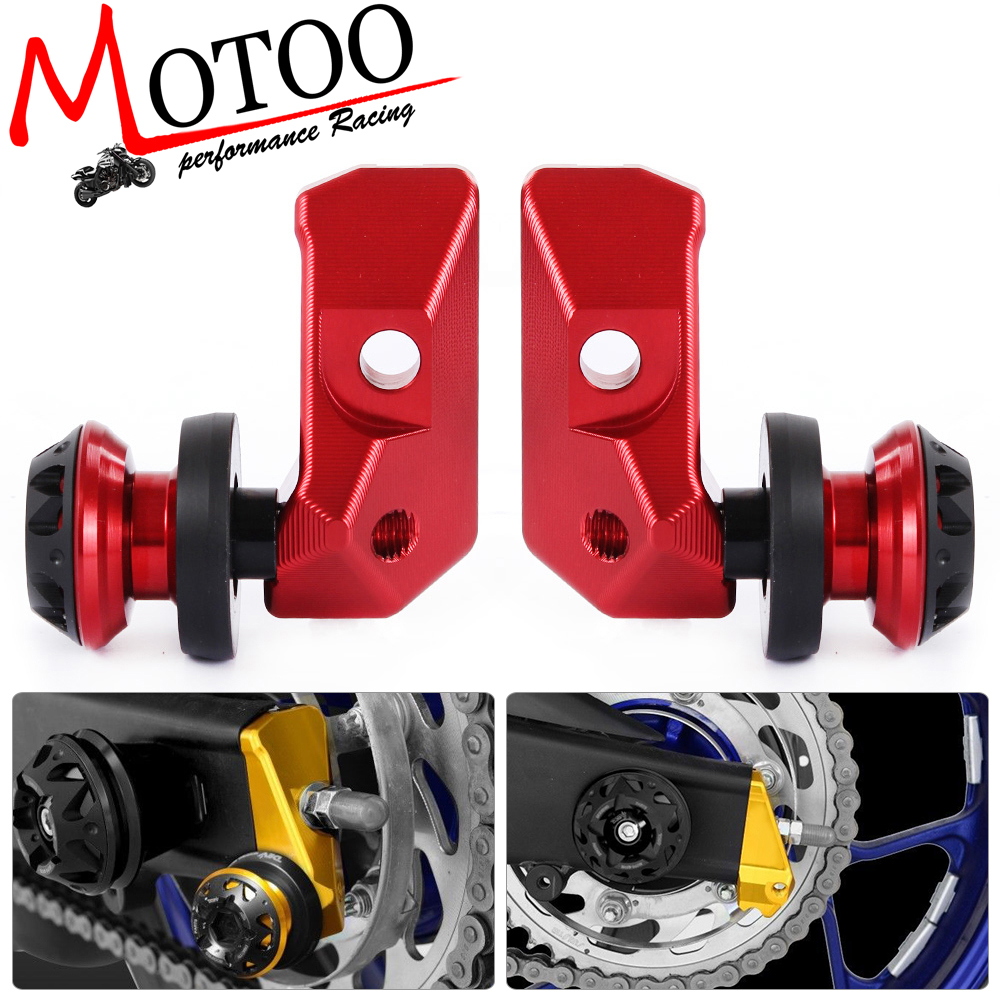 Motoo - Motorcycle Chain Adjuster Blocks For Yamaha YZF R3 MT-03 MT-25 15-16 with Spool Sliders Kit Alloy Rear Axle Spindle waase motorcycle rear back drive chain guard mud cover panel shield fairing cowl protector for yamaha yzf r3 r25 mt 03 mt 25