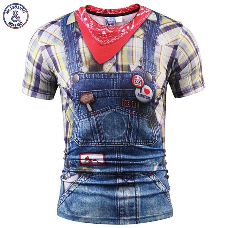 2017 Mr.1991INC Fashion 3d T-shirt Men/women Summer Tops Tees Print Fake Plaid Shirts Jeans T shirt Stylish Tees Shirts