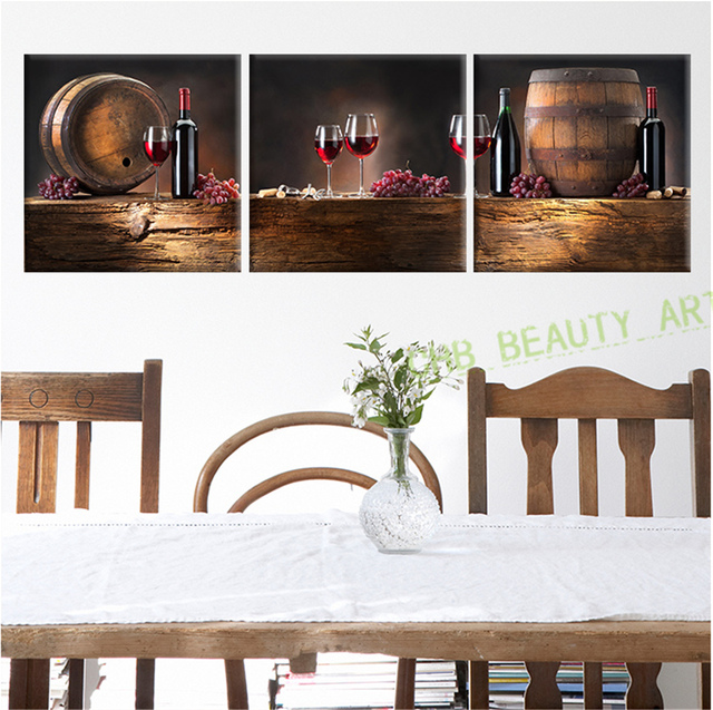 Piece Canvas Wall Art Modern Paintings Red Wine Kitchen Bar