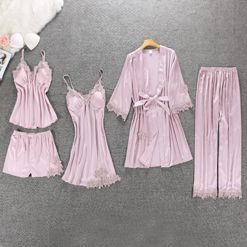 QWEEK Sexy Women Pajamas 5 Pieces Sets Satin Sleepwear Pijama Silk Home Wear Embroidery Sleep Lounge Pyjama with Chest Pads