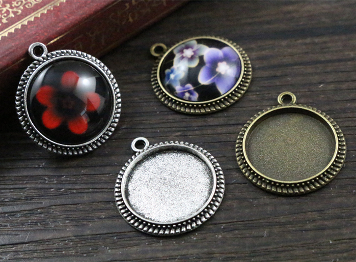 20pcs 16mm Inner Size Antique Bronze And Silver Simple Style Cabochon Base Cameo Setting Charms Pendant