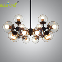 Post Modern glass Chandeliers Lightings Iron Luster Chandelier Black large LED Ceiling Lamp Clear Glass Globe Lights AC90 260V