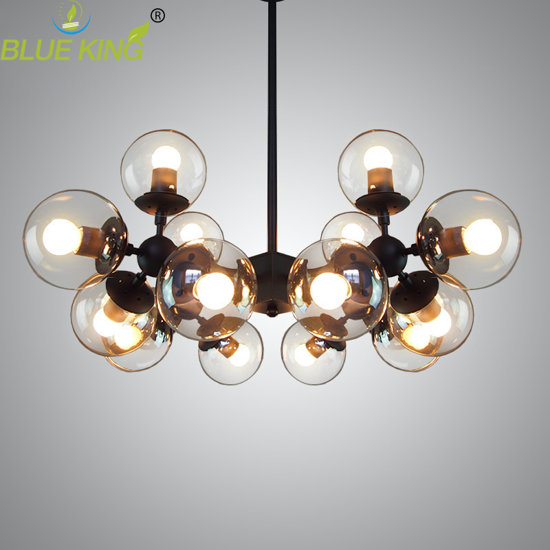 Post Modern glass Chandeliers Lightings Iron Luster Chandelier Black large LED Ceiling Lamp Clear Glass Globe Lights AC90-260V