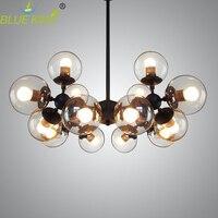 Poste candelabros de cristal modernos luces de hierro lustre araña Negro Grande LED lámpara de techo de cristal transparente globo luces AC90-260V