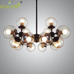 Postmodernistyczne szklane żyrandole oświetlenie żelaza lustre żyrandol czarny duża lampa sufitowa LED jasne szkło kuliste lampki AC90 260V w Żyrandole od Lampy i oświetlenie na