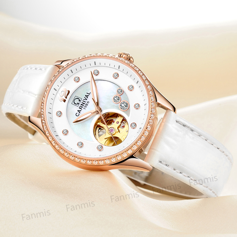 Classic Carnival Hollow Mechanical Watches Women Imported Movement Shell Dial Diamond Waterproof Leather Fashion Lady Clock sewor classic hollow dial clock fast