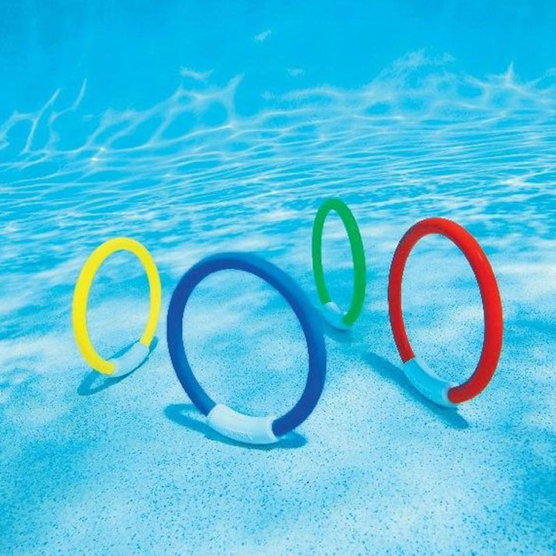 pool toy 1Set Of 4Pcs Dive Rings Throwing Toys Swimming Pool Diving Game Summer Children Underwater Diving Ring Water Sport