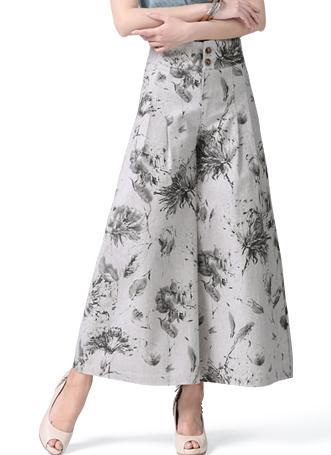 На лето и весну для женщин цветочный роспись широкие брюки свободные льняные мотобрюки, повседневное Высокая талия с цветочным Принто - Цвет: grey 2