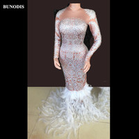 BU249 Women Skin Color Long Skirt Sparkling Crystals White Feather Tail Fashion Show Nightclub Party Birthday Bling Clothing