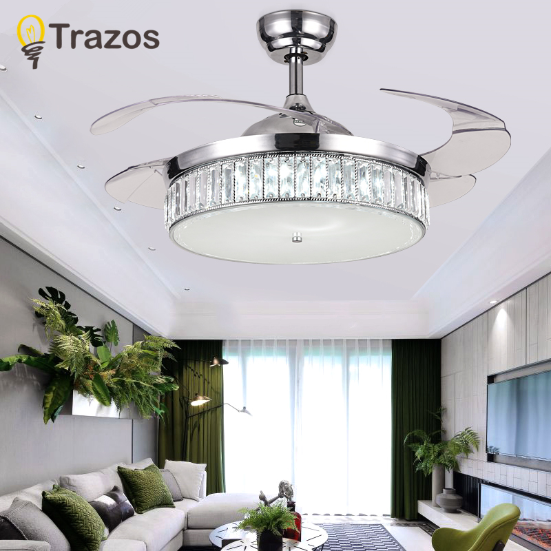 Trazos modern led crystal ceiling fans with lights bedroom - Bedroom ceiling fans with remote control ...