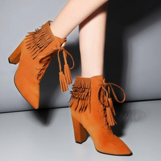 Women Autumn Winter Genuine Leather Tassel Thick High Heel Flock Lace Up Pointed Toe Fashion Ankle Boots Size 34-39 SXQ1006 women autumn winter genuine leather thick mid heel side zipper round toe 2015 new fashion ankle boots size 34 39 sxq0905