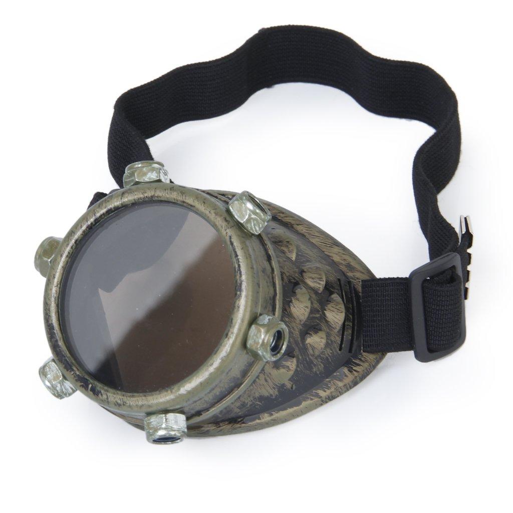 Sécurité lunettes Vintage Steampunk lunettes cyclope lunettes Gothique Cosplay Costume pour l'œil gauche (Bronze)
