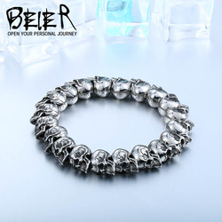 BEIER New Cool Punk Adjustable Skull Bracelet For Man 316 Stainless Steel Man's High Quality Jewelry BC8-027 Dropshipping