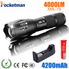 Zk50 LED Flashlight 18650 Torch Waterproof Rechargeable XM L T6 4000LM 5 Mode Led Zoomable Light