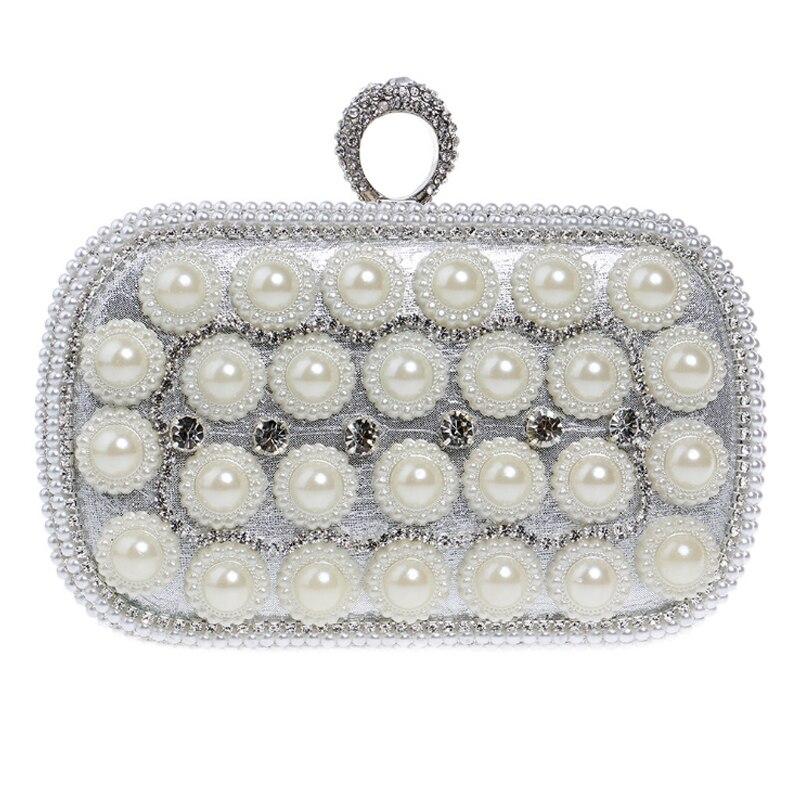 Homeda Diamond Evening Bag Decor Pearls Chain Ladies Messenger Bag Sequined Hasp Box Woman Bolsos Bandolera Mujer Q-43 монетница no hasp sh bag 055 q