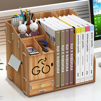 Desktop Stationery Organizer Office Supplies Drawer Storage Box Creative Bookshelf Wooden Document Rack