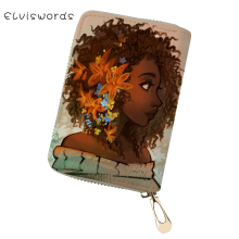 ELVISWORDS Women PU Business Card Holder African Girls Printing Pattern Money Purses Bags Fashion Lady Cluth Wallets