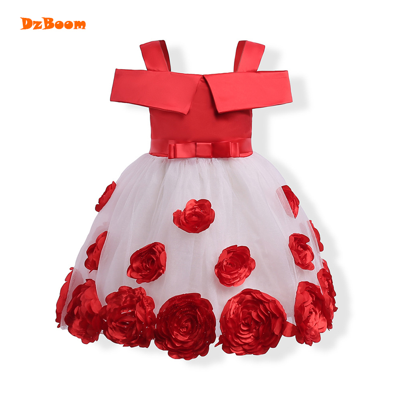 DzBoom 3-8T Brand Big Flower Girl Dress Princess Tutu Party Wedding Dresses for Girls Christmas Style Red Pink Sweet Kids Dress