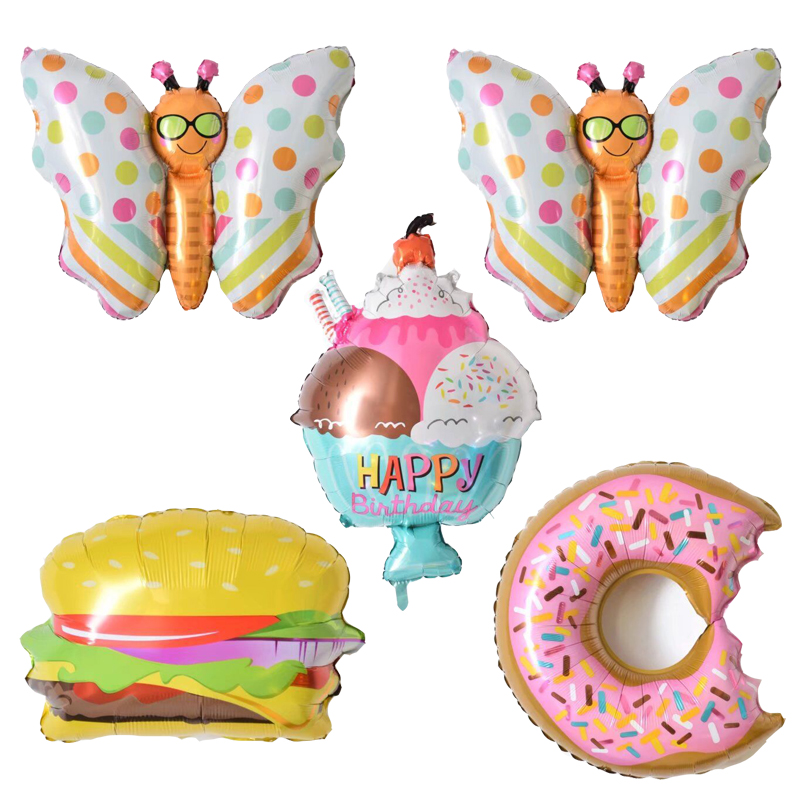 Hamburger Foil Balloons Birthday Party Decorations Kids Doughnut Globos Inflatable Toys Air Balloons Party Supplies Baby Shower