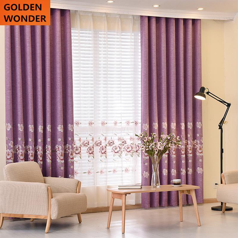 hermoso bordado cortina dormitorio moderno europeo cortinas para la sala de estar de la tela de