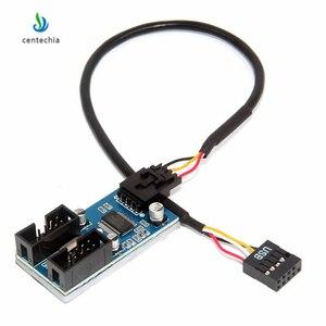 Image 2 - Centechia 1 sztuk płyta główna USB 2.0 9Pin 1 do 4 przedłużenie rozgałęźnika PCB Chipset obudowa PC wewnętrzny ulepszony przedłużacz gadżet JSX