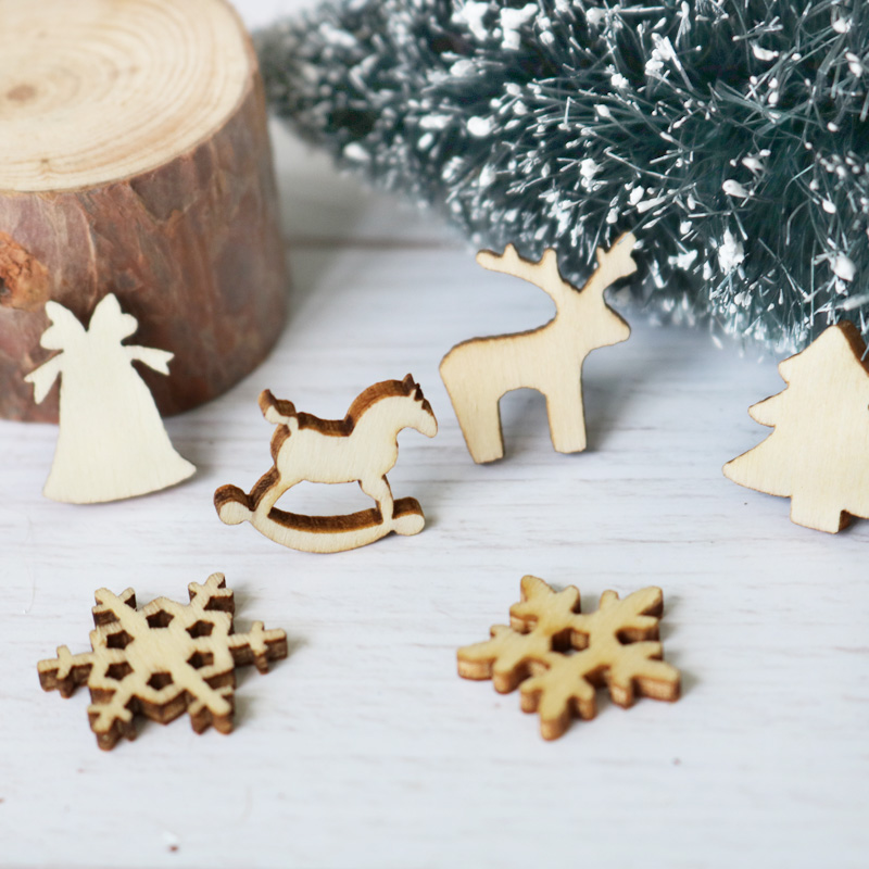 Cooperative 50pcs Christmas Holiday Wooden Collection Snowflakes Buttons Snowflakes Embellishments 18mm Creative Decoration Pretty And Colorful Home & Garden Buttons