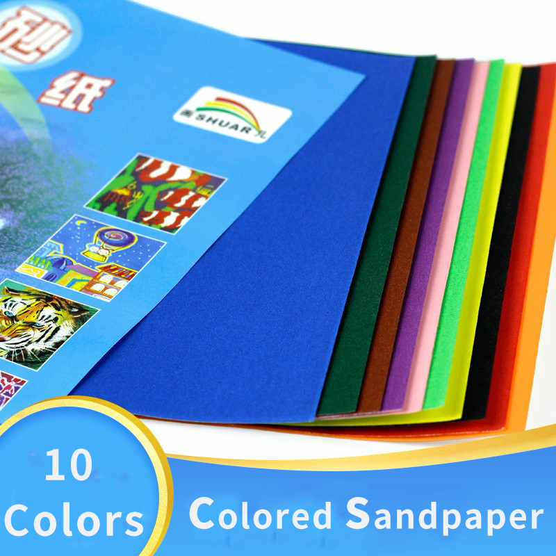 8K Painting Paper For Soft Pastel Crayons 10 Colors Colored Sandpaper Kids Graffii Drawing Bright Color Glitter Paper Stationery