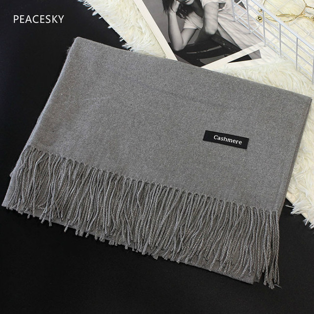 2019 New Hot Sale Men Scarf Unisex Thick Warm Winter Scarves Cashmere Scarf Black and Gray Gentleman's Bussiness Scarves