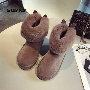 Image 1 - SWYIVY שלג מגפי נשים 2019 אישה חורף קרסול מגפי חמוד ארנב שחור נעליים יומיומיות אישה נעלי קטיפה עם פרווה Bottine Femme