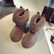 SWYIVY Snow Boots Women 2019 Woman Winter Ankle Boots Cute Rabbit Black Casual Shoes Woman Booties Plush With Fur Bottine Femme