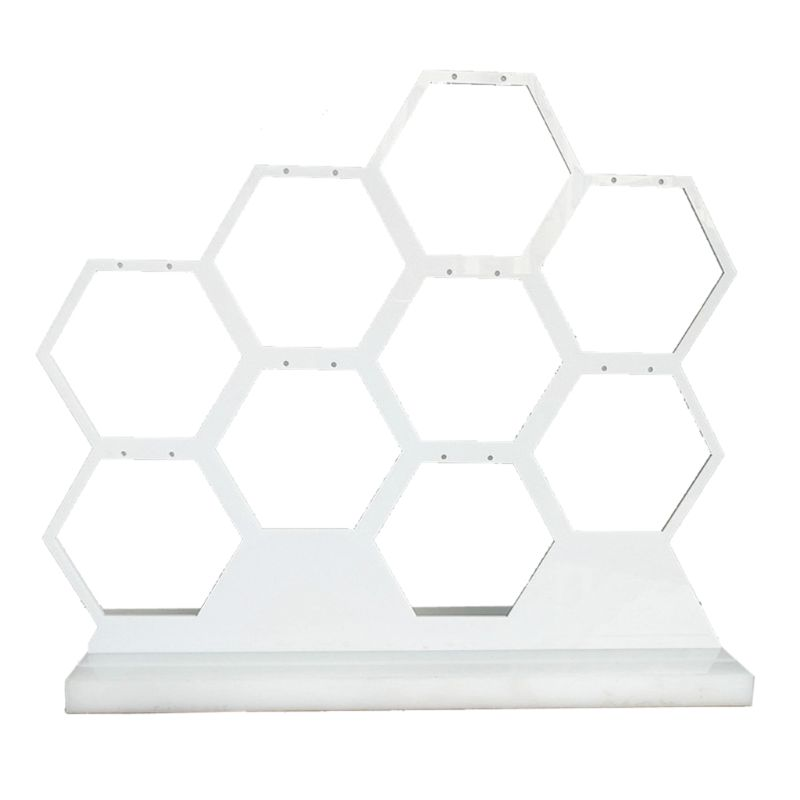 Acrylic White Honeycomb Jewelry Earring Display Stand Holds 9 Jewelry Earrings