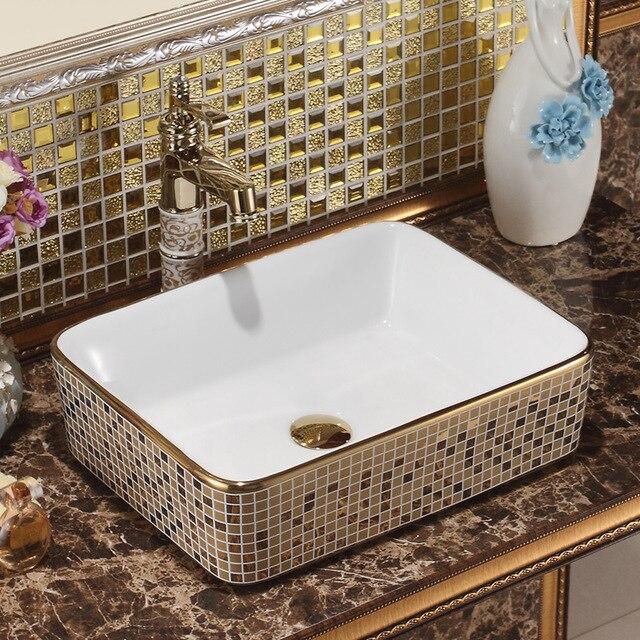 US $299.0  Rechteckigen Jingdezhen Bad keramik waschbecken becken Porzellan  Zähler Top Waschbecken Badezimmer Waschbecken klar schiff sinken in ...